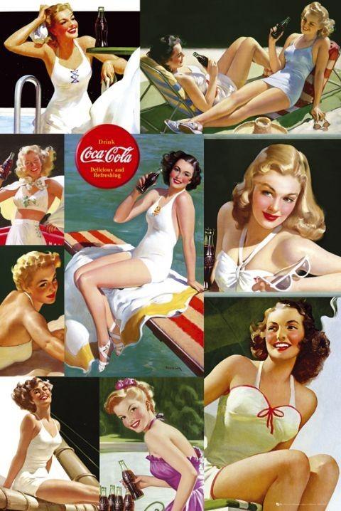 Juliste Coca Cola - girl colour collage