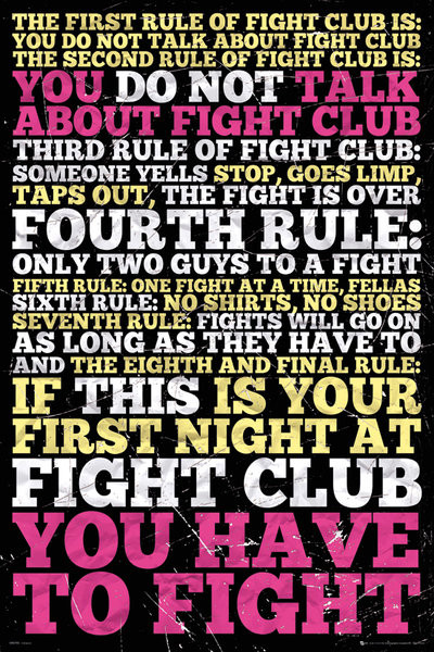 Juliste  Fight club -  8 rules