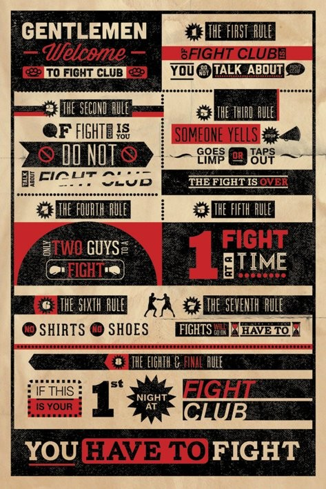 Juliste  FIGHT CLUB RULES INFOGRAPHIC
