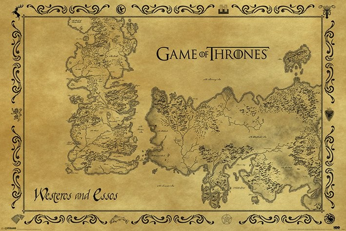 Juliste Game of Thrones kartta Antiikkinen