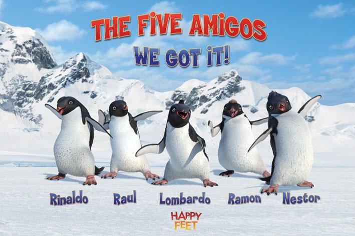 Juliste  HAPPY FEET - the five amigos