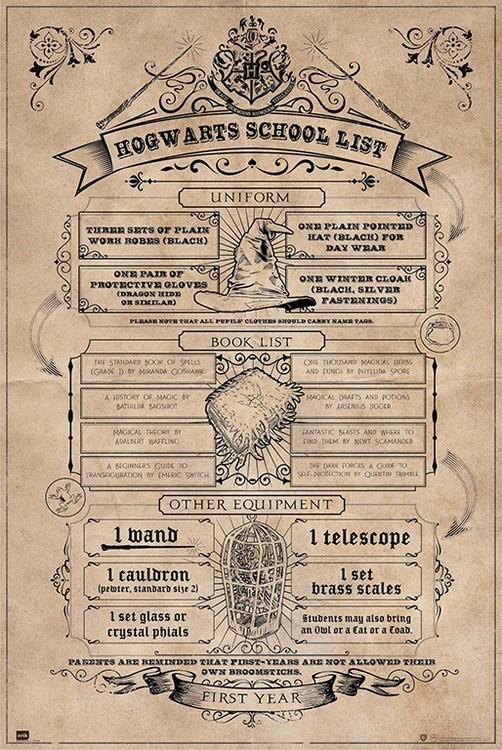 Juliste  Harry Potter - Hogwarts School List