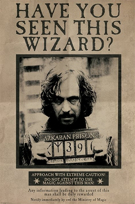 Juliste Harry Potter - Wanted Sirius Black