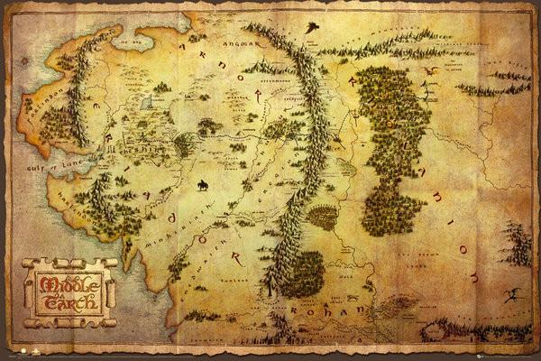 Hobitti Keskimaan Kartta Juliste Poster Tilaa Netista