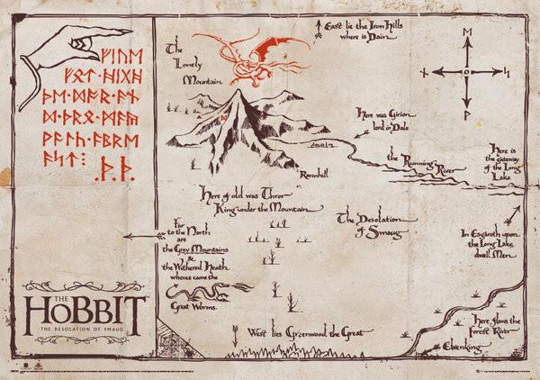 Hobitti Yksinaisen Vuoren Kartta Special Juliste Poster