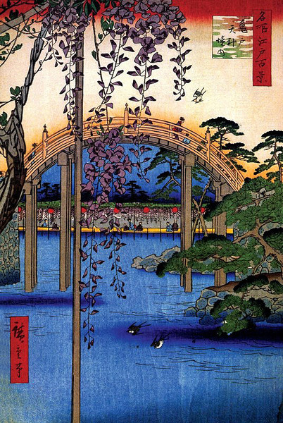 Juliste Inside Kameido Tenjin Shrine - Utagawa Hiroshige