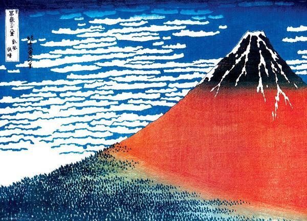Juliste Katsushika Hokusai - mount fuji red