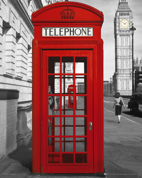 Juliste Lontoo - phoneboxes