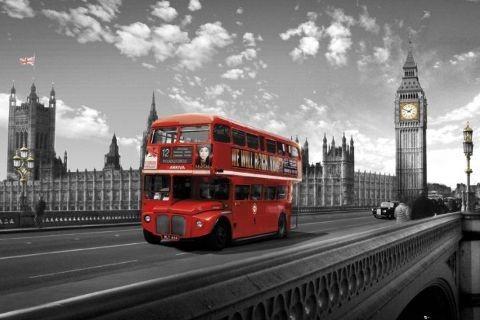 Juliste Lontoo - westminster bridge bus