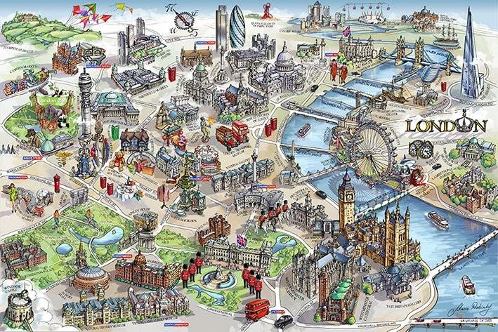 Juliste Lontoon kartta