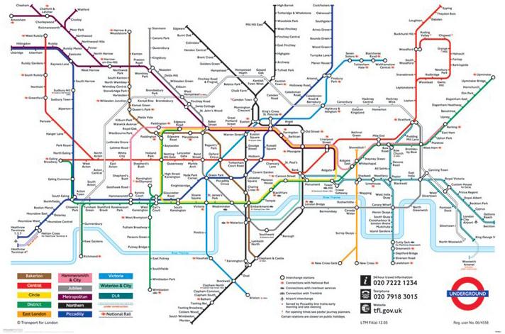 Juliste Lontoon metrokartta