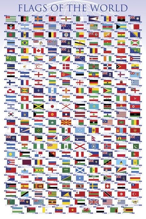 Juliste Maailman lippuja