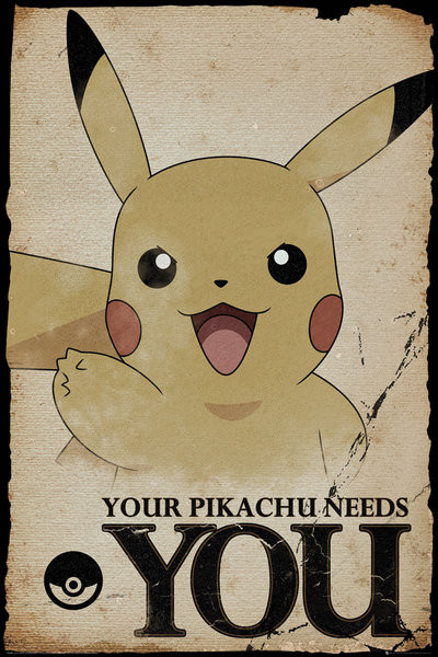Juliste Pokemon - Pikachu Needs You