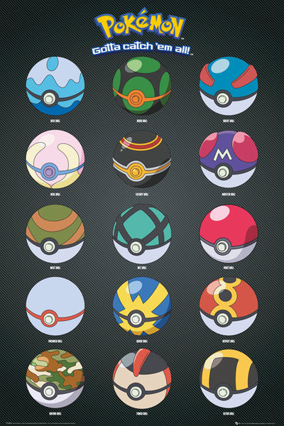 Juliste  Pokémon - Pokeballs