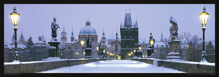 Juliste Prague – Charles bridge / snow