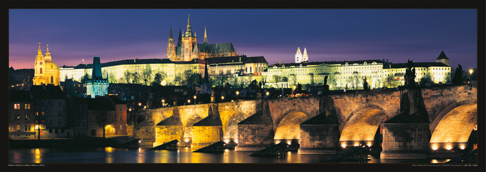 Juliste Prague – Prague castle & Charles bridge at night