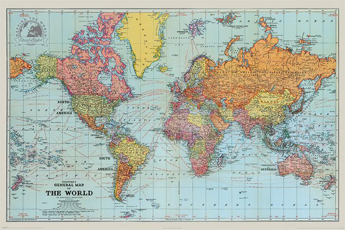 Juliste  Stanfordsin yleinen kartta maailmasta