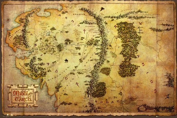 Juliste The Hobbit - Middle Earth Map