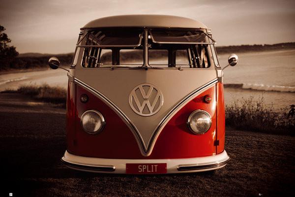 Juliste VW Volkswagen - Red kombi