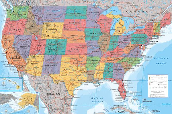 Yhdysvallat Poliittinen Kartta Juliste Poster Tilaa Netista