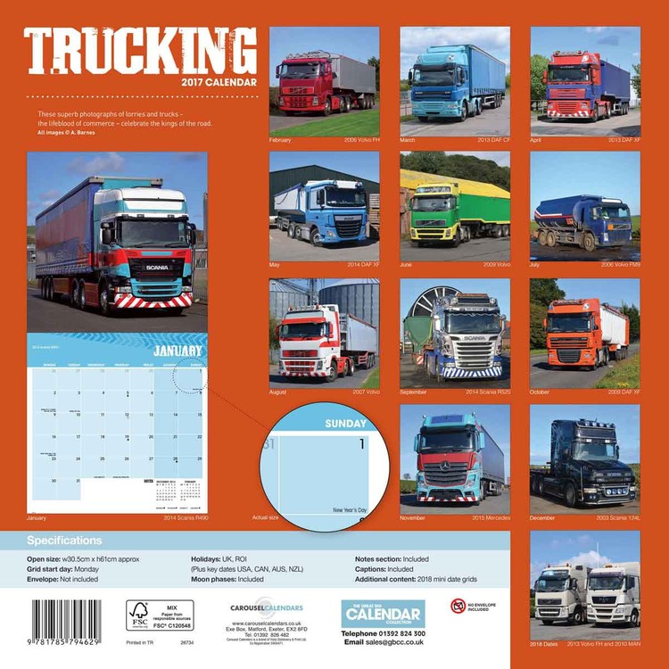 Kalenteri 2018 Trucking