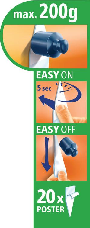 Kaksipuolinen liimatarra - voidaan irrottaa jälkiä jättämättä