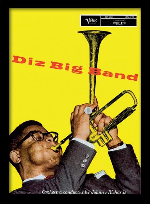 Dizzie Gillespie - big band kehystetty lasitettu juliste