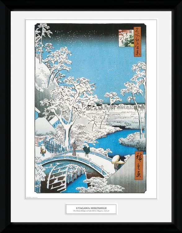 Hiroshige - The Drum Bridge Kehystetty juliste