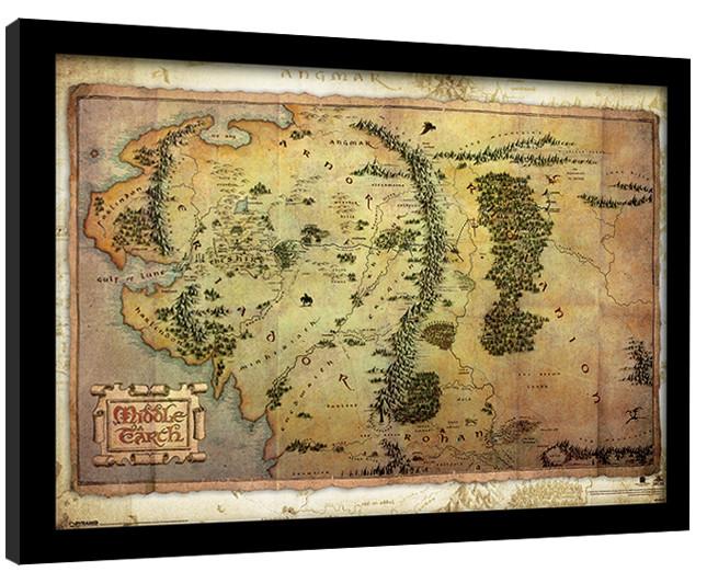 Hobitti Keskimaan Kartta Kehystetty Juliste Tilaa Netista