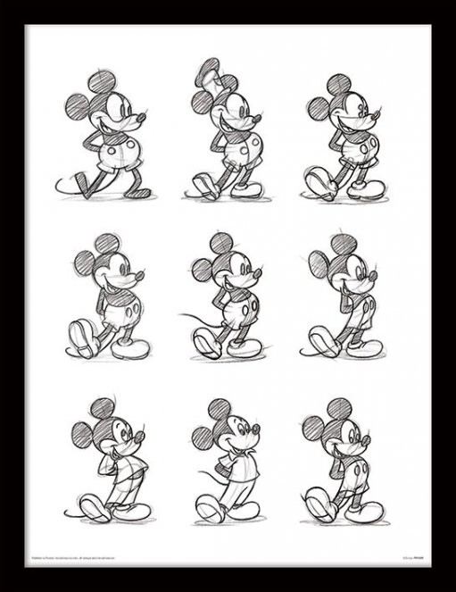 Kehystetty juliste Mikki Hiiri (Mickey Mouse) - Sketched Multi