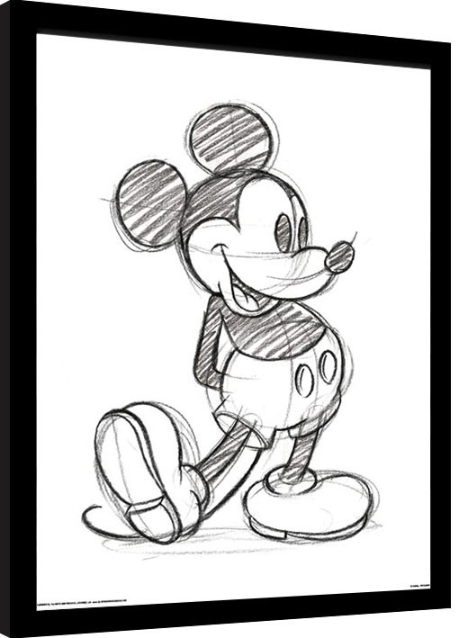 Kehystetty juliste Mikki Hiiri (Mickey Mouse) - Sketched Single