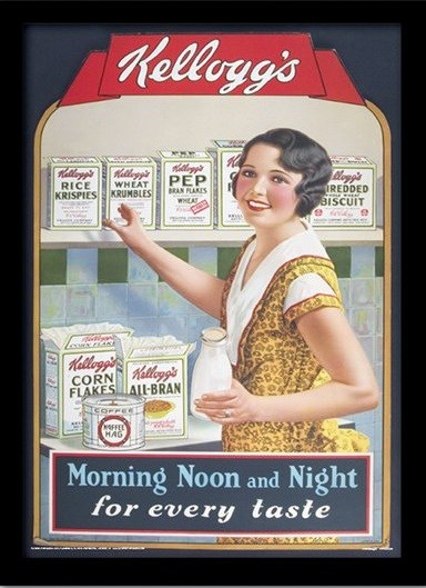 VINTAGE KELLOGGS - morning,noon & night kehystetty lasitettu juliste