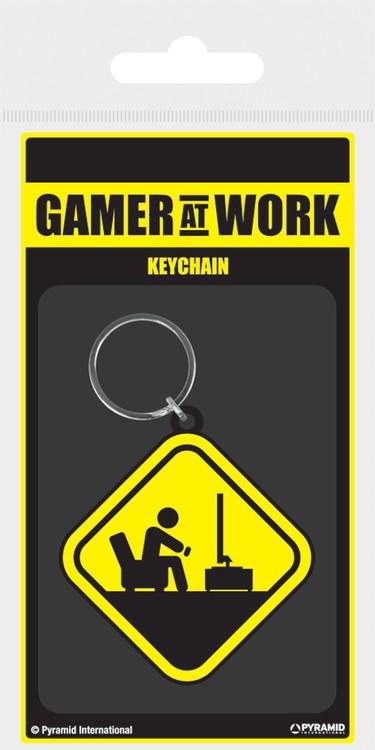 Keychain Gamer At Work - Caution Sign