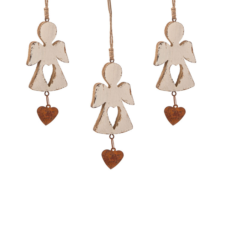 Angel Wooden Hanging Decoration with Heart, 12 cm, set of 3 pcs Kodinsisustus