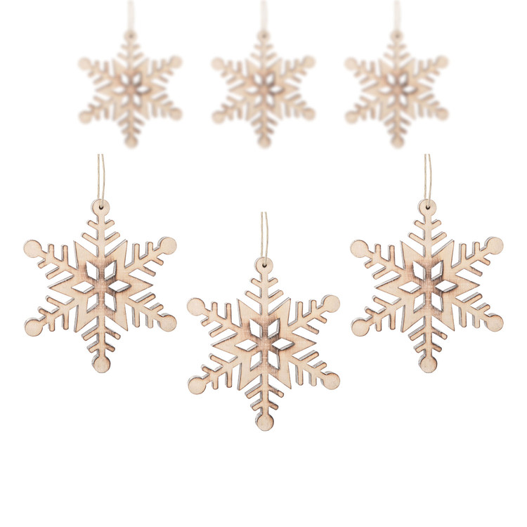 Hanging Wooden Snowflake, 12 cm, set of 6 pcs Kodinsisustus