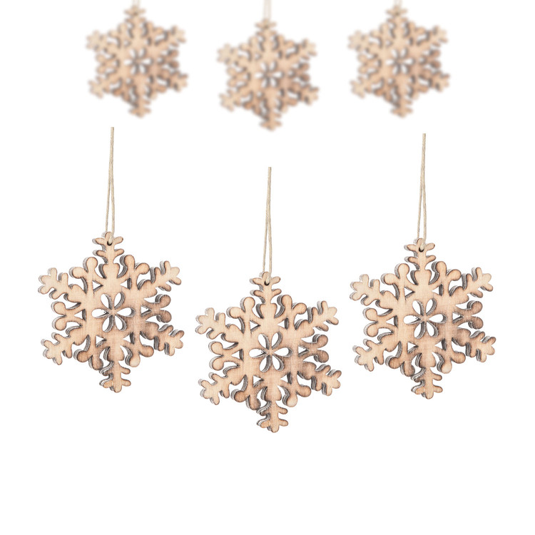 Hanging Wooden Snowflake, 8 cm, set of 6 pcs Kodinsisustus