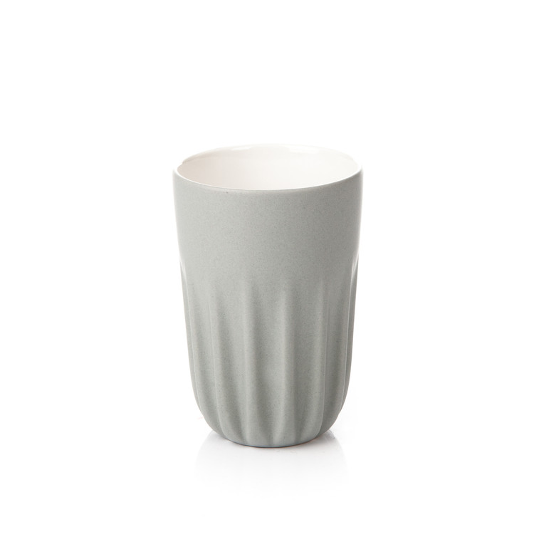 Mug Ribbed Tall, Matte Light Gray 300 ml Kodinsisustus