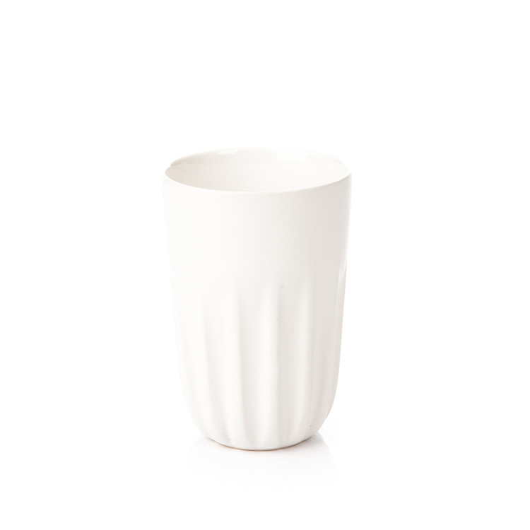 Mug Ribbed Tall, Matte White 300 ml Kodinsisustus