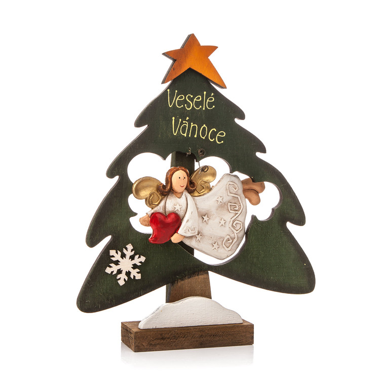 Wooden Christmas Tree with Flying Angel and Heart, 22 cm Kodinsisustus