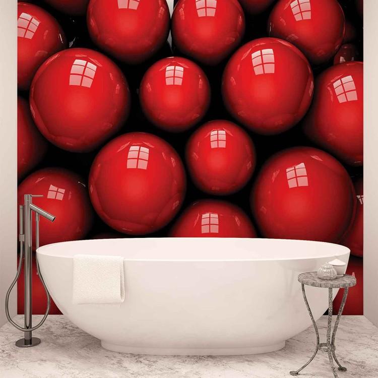Abstract Modern Red Balls Valokuvatapetti