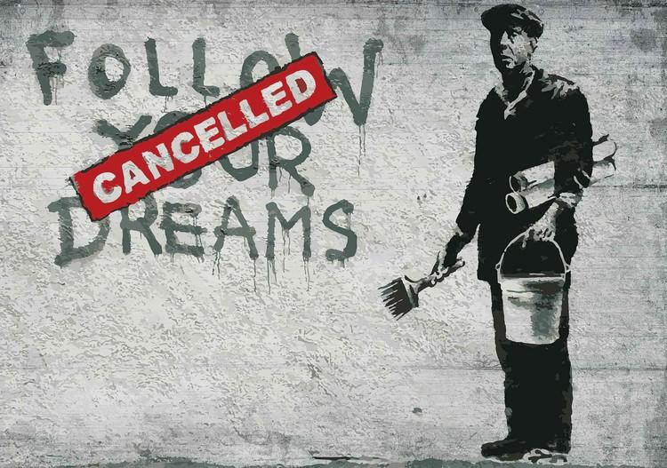 Banksy Graffiti Concrete Wall Valokuvatapetti