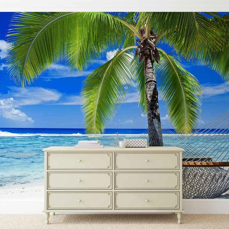 Beach Sea Sand Palms Hammock Valokuvatapetti