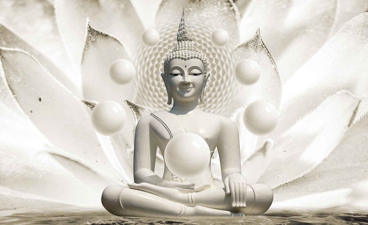 Buddha Zen Spheres Flower 3D Valokuvatapetti