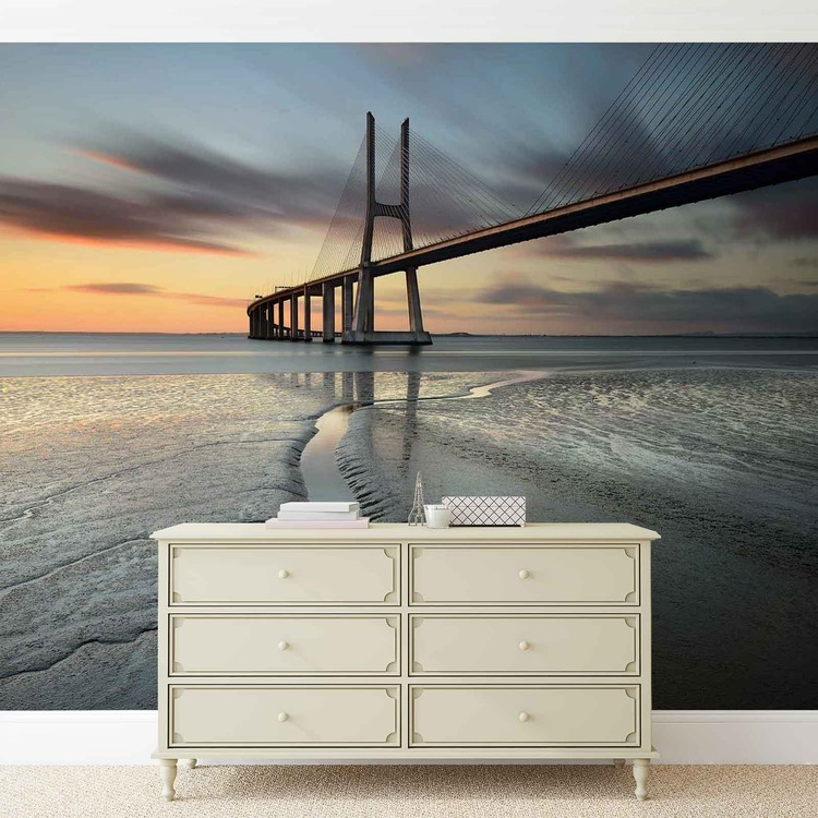 City Bridge Beach Sun Portugal Sunset Valokuvatapetti
