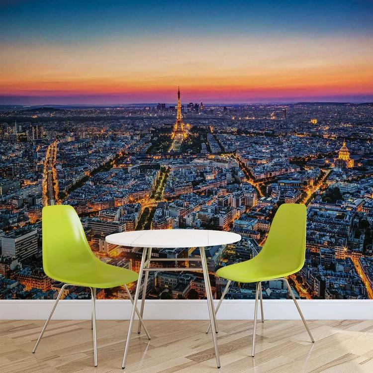 City Paris Sunset Eiffel Tower Valokuvatapetti