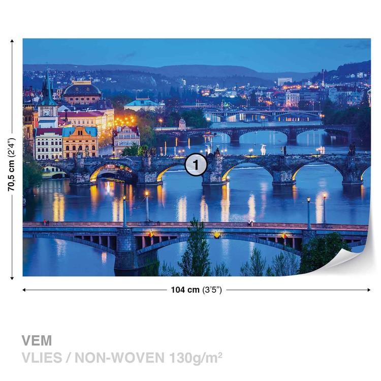 City Prague River Bridges Valokuvatapetti