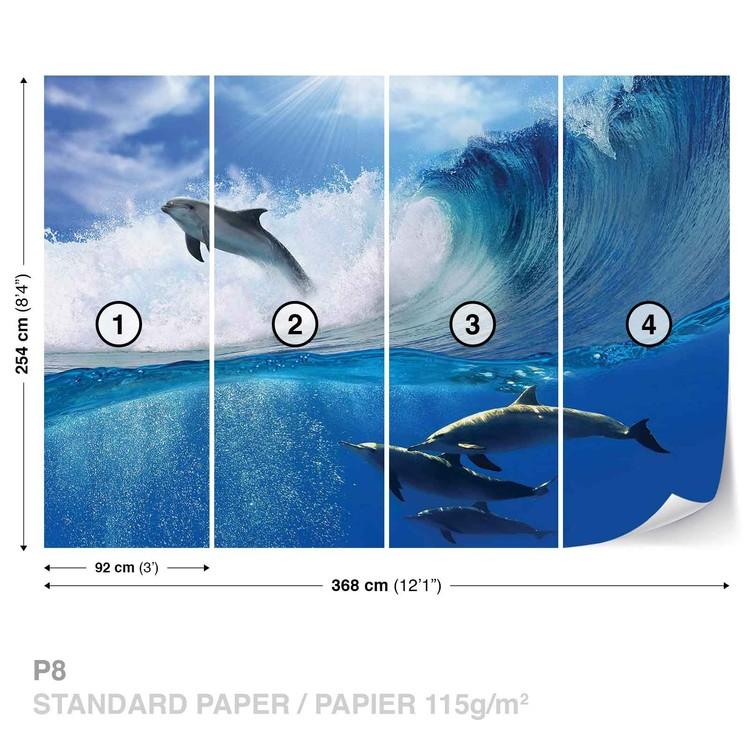 Dolphins Sea Wave Nature Valokuvatapetti