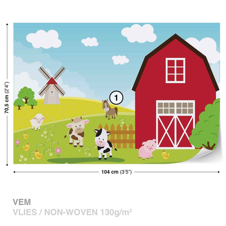 Farm Cartoon Boys Bedroom Valokuvatapetti