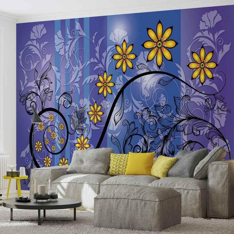 Flowers Floral Pattern Valokuvatapetti