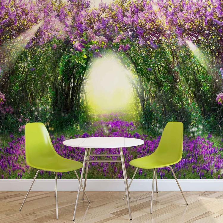 Flowers Purple Forest Light Beam Nature Valokuvatapetti